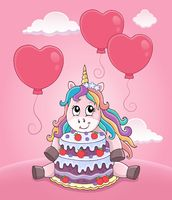 Unicorn with cake and balloons theme 3