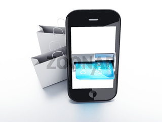 mobile phone device with a shopping bag. online shopping concept