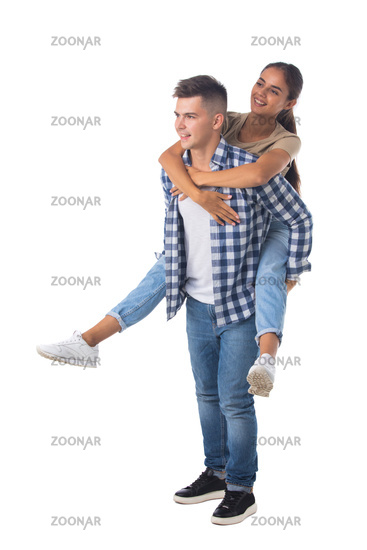 Happy couple with her at piggyback