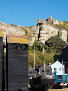 Fishermen's Sheds and Boat overlloked by the Funicular Railway in Hastings