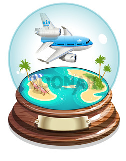 Vector Cartoon Summer Crystal Ball