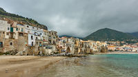 Houses by the sea in Cefalu in Sicily