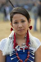 NAGALAND, INDIA, December 2013, Naga Tribal girl portrait during Hornbill festival