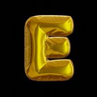 Golden Balloon Letter E, Realistic 3D Rendering