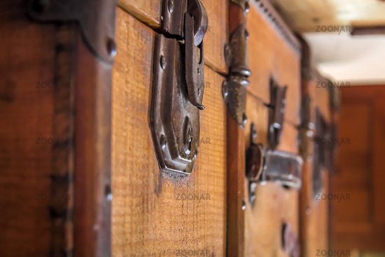 old leather travel suitcase