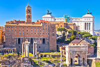 Rome. Scenic aerial view over the ruins of the Roman Forum and landmarks of Rome