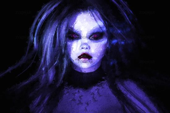 Artistic 3D illustration of a goth female