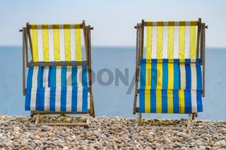 Empty Deck chairs, Beer, Devon, UK