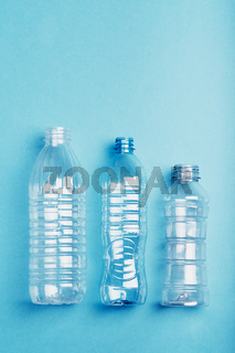 Empty plastic bottles collected to recycling