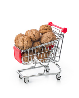 Walnuts in shopping cart