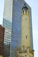 The historic water tower on Michigan Avenue in downtown Chicago