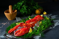 the cooked lobster on ice