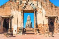 Brick wall and remains of Wat Mahathat temple