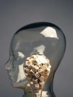 Buchstabenwürfel in einer Glühbirne, Kreativität