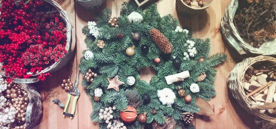 Festive Christmas arrangement with fir wreath
