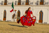 A Lovely Hispanic Brunette Model Poses Outdoors On A Mexican Ranch