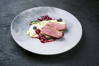Traditional gourmet duck breast filet with mashed potatoes and cranberry sauce as closeup on a modern design plate