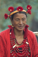 NAGALAND, INDIA, January 2000, Naga tribal lady portrait, Hornbill festival