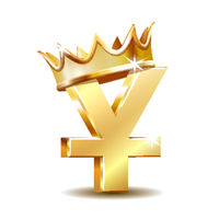 Shiny golden Yuan currency symbol with golden crown isolated on white.