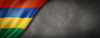 Mauritius flag on concrete wall banner