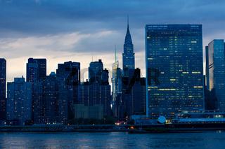 Manhattan East River Skyline Night