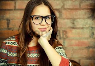 Close up portrait of a beautiful cute teen girl