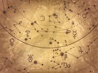 Fragment of Astronomical Celestial Atlas: Stars, Planets, Heavens. (Alternate grunge vintage remake: Antique Selenium version).