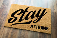 Stay At Home Welcome Mat On Floor