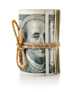 Roll of dollars in rope