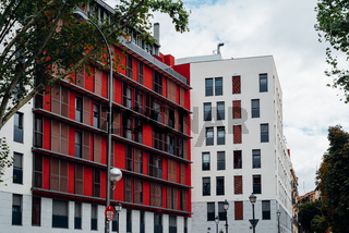 New residential building with colorful facade in Madrid