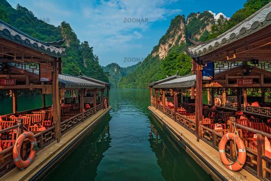 Tourist boats waiting for passengers on Baofeng Lake