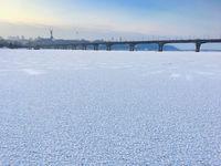 Frozen Dnipro river Kyiv, Ukraine