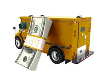 Modern transport concept stack of dollars in dark orange cargo bank with an armored car, side view 3d render on white background no shadow