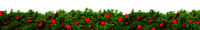 Christmas Banner And Garland With Green Fir Branch, Red Stars
