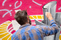 street art artist at work