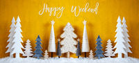 Banner, Christmas Trees, Snow, Yellow Background, Happy Weekend