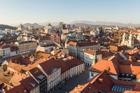Panoramic view of Ljubljana, capital of Slovenia, at sunset. Empty streets of Slovenian capital during corona virus pandemic social distancing measures in 2020