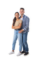 Smiling young couple on white