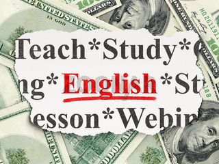 Education concept: English on Money background