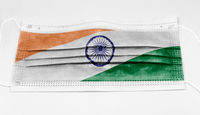 surgical mask with the national flag of India printed.