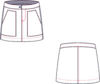Technical drawing of mini jean skirt. Fashion template.