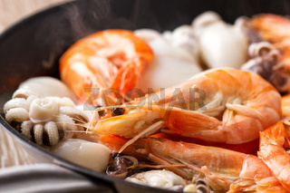 Seafood Preparation in a Pan. High quality photo.