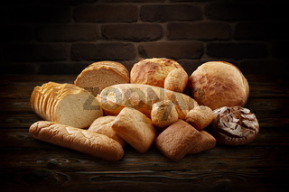 Group of mixed bread products