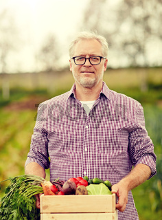 senior man with box of vegetables on farm