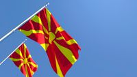 3D rendering of the national flag of Macedonia waving in the wind
