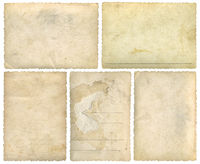 Five Old Empty Postcards Template Background Cutout