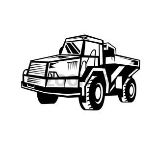 Mining Dump Truck Retro Woodcut Black and White