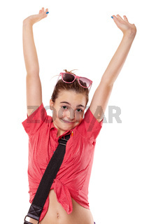 lucky teenage girl streching here arms, isolated on white