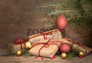 group of Christmas gifts on rustic wood