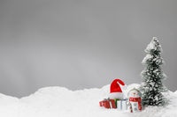Christmas card with decor on snow